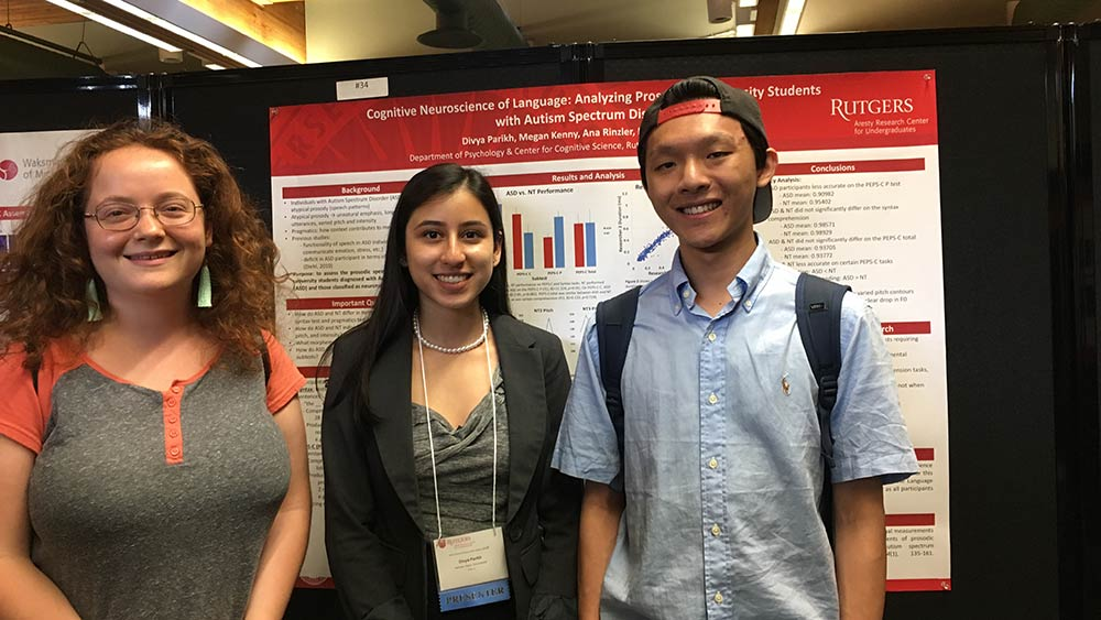Photos of cogsci majors at summer Aresty poster session 2018